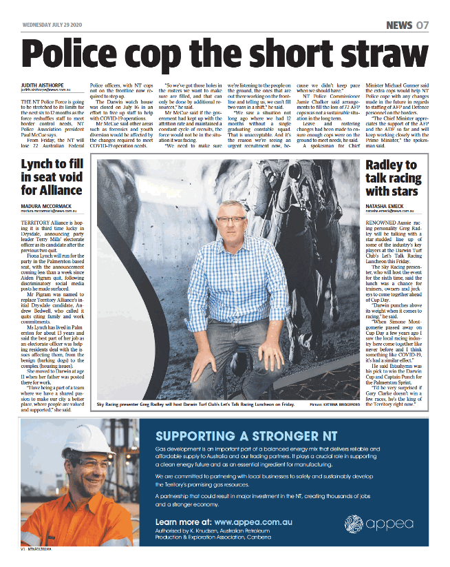 Image of a page of NT News newspaper, with a large color advertisement placed by APPEA, with the title 'Supporting a stronger NT'.