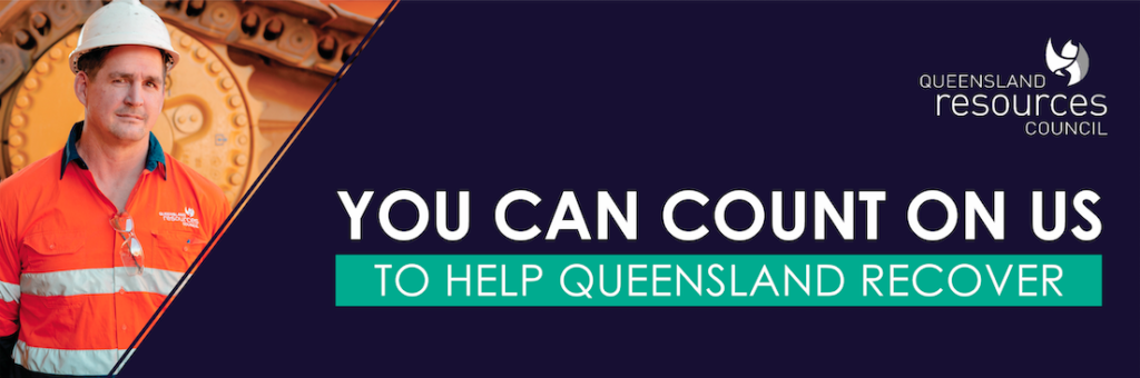 QRC advertisement banner, with big text, 'You can count on us to help Queensland recover'.