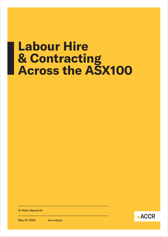 Cover page of the Labour Hire & Contracting Across the ASX100 publication.